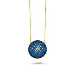 Online Takı Mavi Taşlı Gümüş Kolye